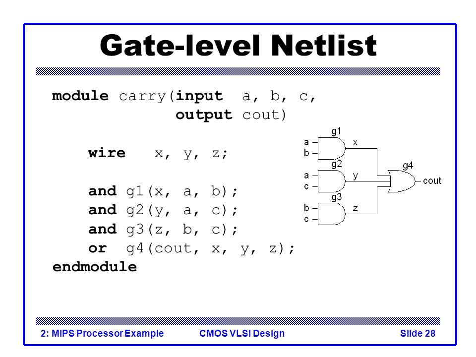 CMOS VLSI Design2: MIPS Processor ExampleSlide 28 Gate-level Netlist module carry(input a, b, c, output cout) wire x, y, z; and g1(x, a, b); and g2(y, a, c); and g3(z, b, c); or g4(cout, x, y, z); endmodule