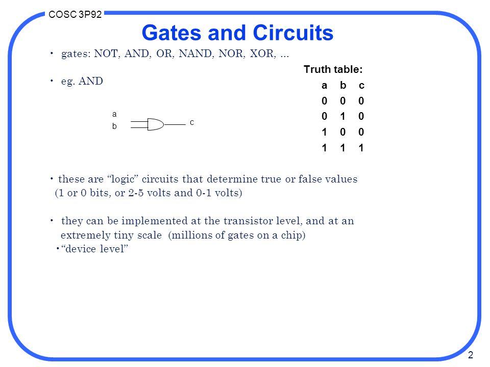 3 COSC 3P92 Transistor implementation
