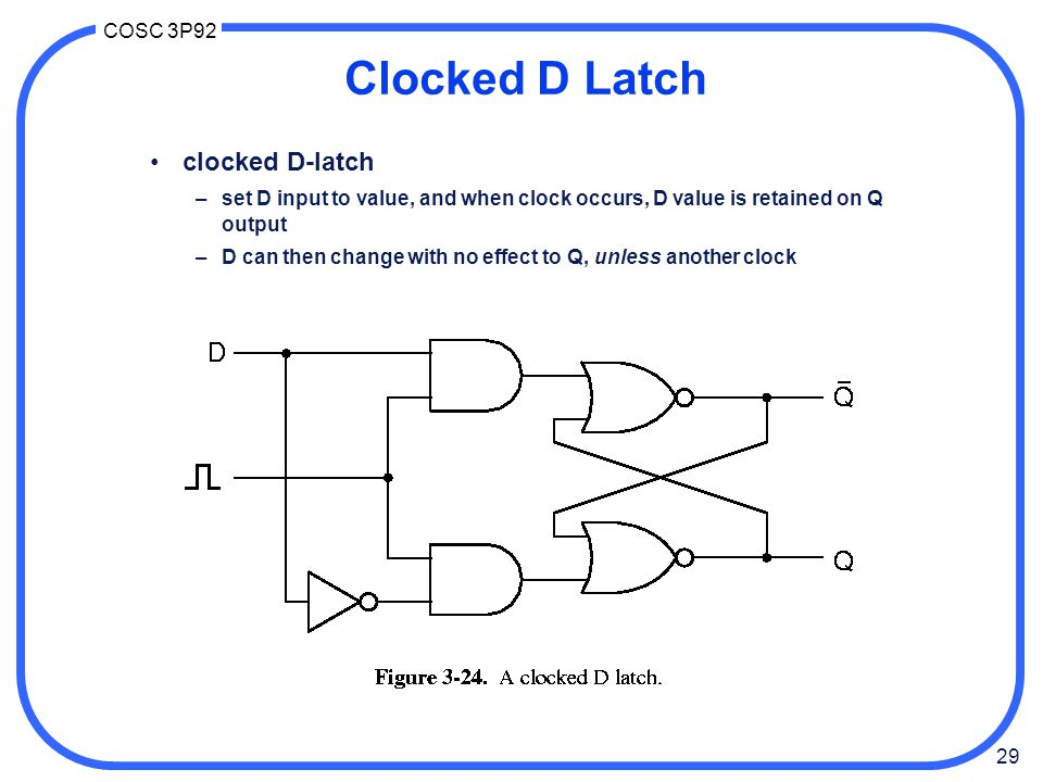 29 COSC 3P92 Clocked D Latch clocked D-latch –set D input to value, and when clock occurs, D value is retained on Q output –D can then change with no