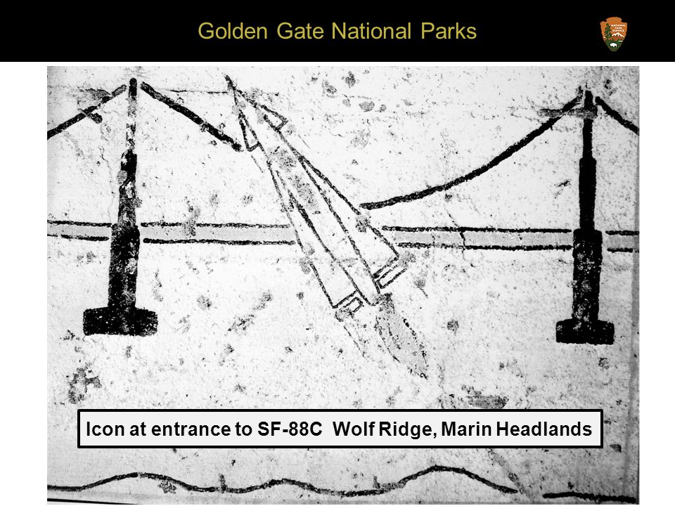 Golden Gate National Parks Icon at entrance to SF-88C Wolf Ridge, Marin Headlands