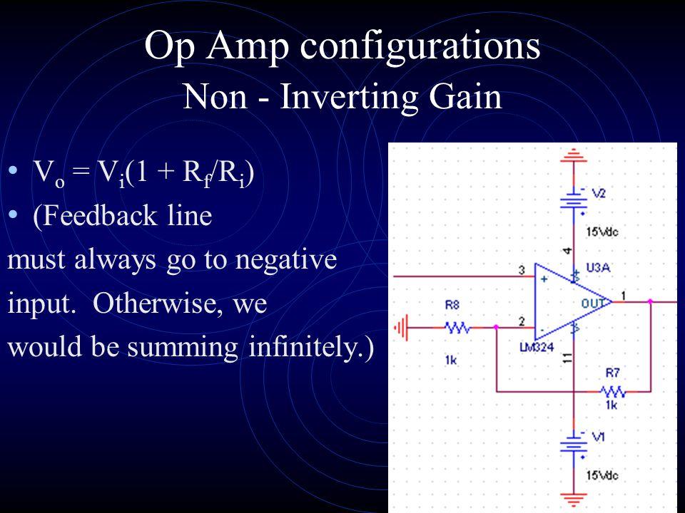 Op Amp configurations V o = V i (1 + 0/ ) = 1 Also called follow me amplifier.