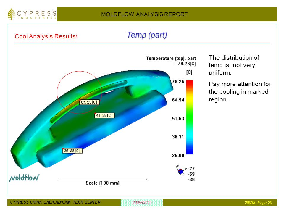 20038 Page 20 2005/05/29 MOLDFLOW ANALYSIS REPORT CYPRESS CHINA CAE/CAD/CAM TECH CENTER Temp (part) The distribution of temp is not very uniform. Pay