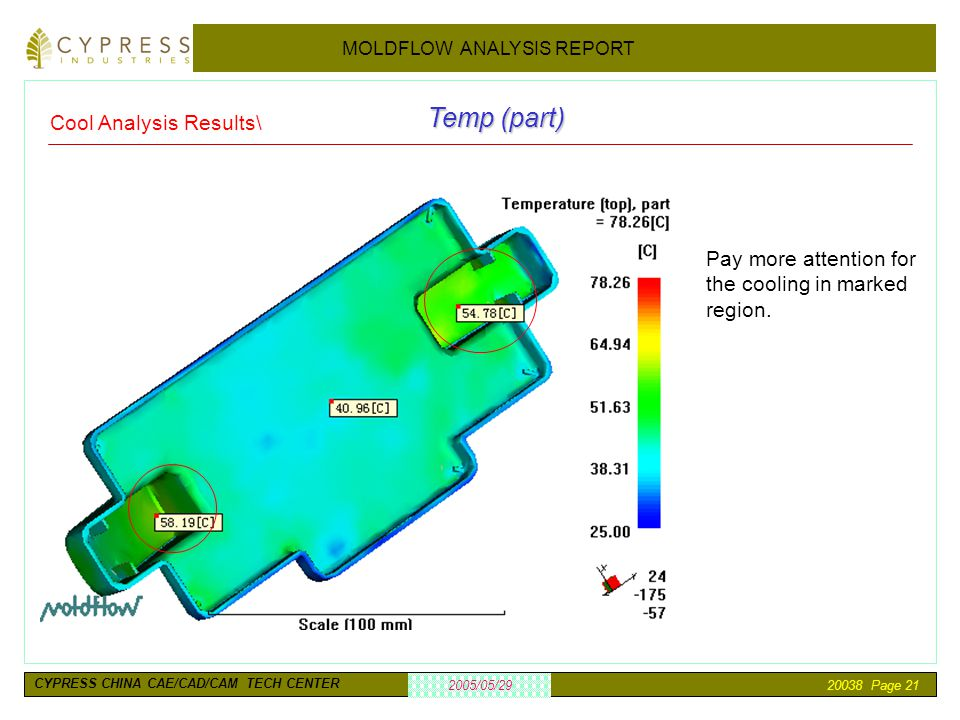 20038 Page 21 2005/05/29 MOLDFLOW ANALYSIS REPORT CYPRESS CHINA CAE/CAD/CAM TECH CENTER Cool Analysis Results\ Temp (part) Pay more attention for the