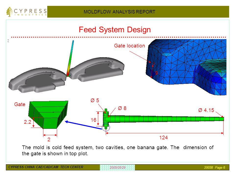 20038 Page 6 2005/05/29 MOLDFLOW ANALYSIS REPORT CYPRESS CHINA CAE/CAD/CAM TECH CENTER Feed System Design The mold is cold feed system, two cavities,