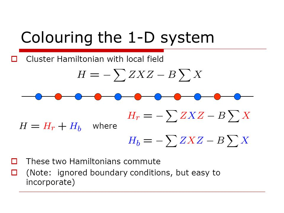 Colouring the 1-D system Cluster Hamiltonian with local field These two Hamiltonians commute (Note: ignored boundary conditions, but easy to incorporate) where