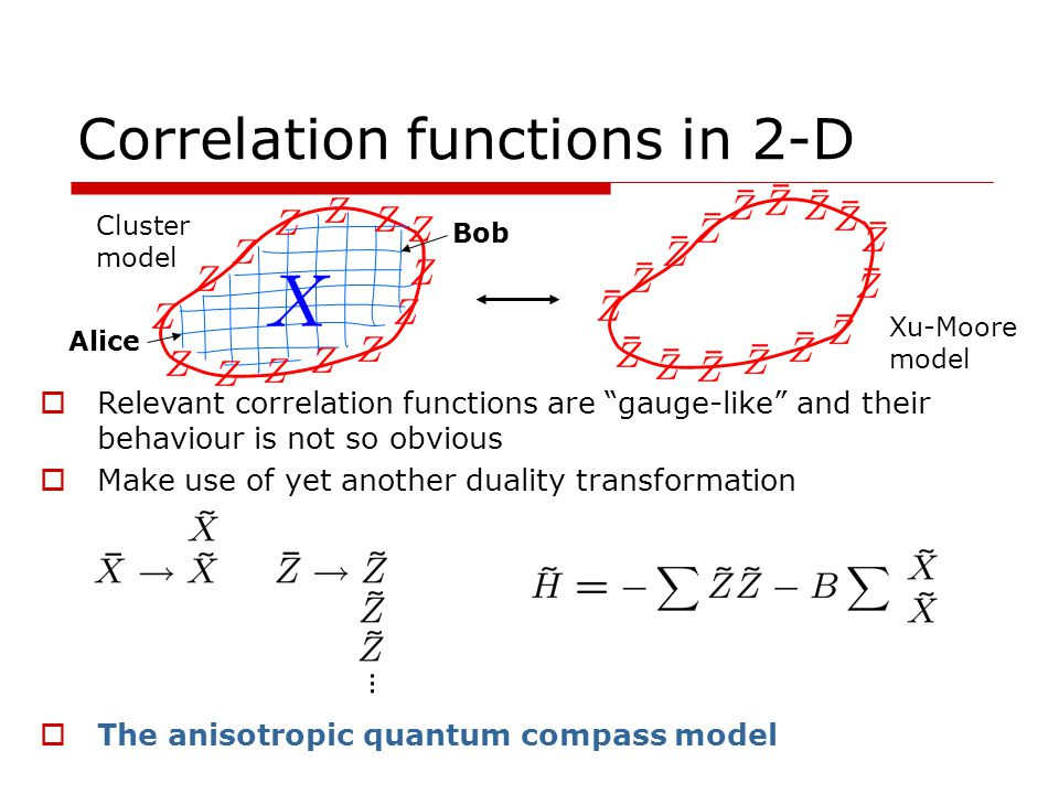 Correlation functions in 2-D Relevant correlation functions are gauge-like and their behaviour is not so obvious Make use of yet another duality transformation The anisotropic quantum compass model Cluster model Xu-Moore model Alice Bob