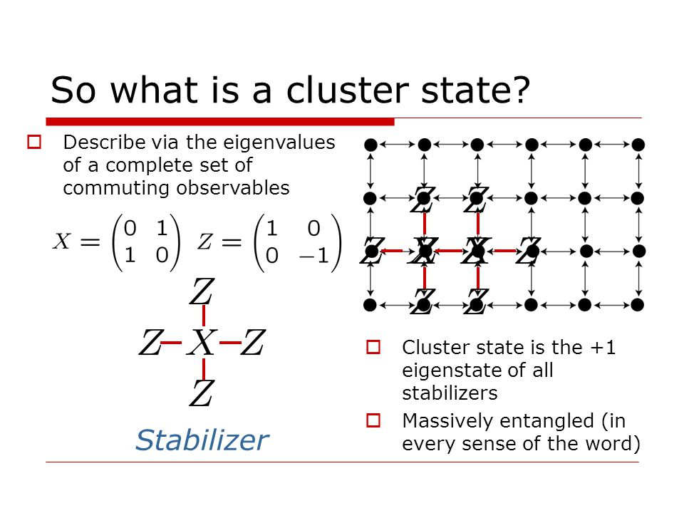So what is a cluster state.