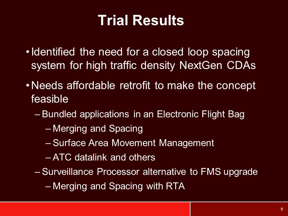 10 ABESS Based on earlier MITRE and NASA work Uses all available surveillance sources to predict aircraft sequence and build schedule for arrival fix (at all runway ends – future) –FAA radars, ACARS, ADS-B, and Rapid Update Cycle (RUC) winds (SMS for all nearby airports - future) Detects conflicts Calculates speed changes and RTA to smooth flow Uplinks speed to aircraft (RTA and M&S info – future) Joint FAA, NASA, MITRE, UPS project
