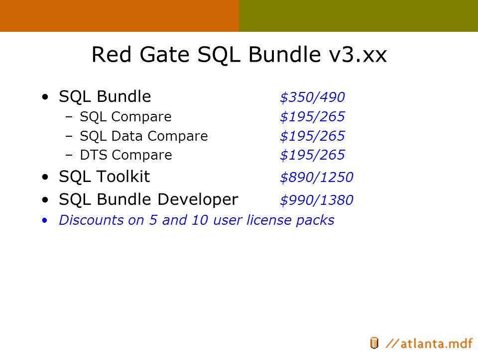 Red Gate SQL Bundle v3.xx SQL Bundle $350/490 –SQL Compare $195/265 –SQL Data Compare $195/265 –DTS Compare $195/265 SQL Toolkit $890/1250 SQL Bundle Developer $990/1380 Discounts on 5 and 10 user license packs