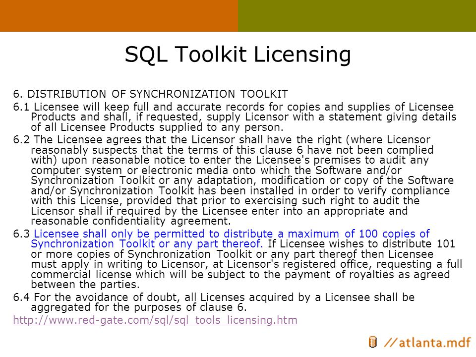 SQL Toolkit Licensing 6.