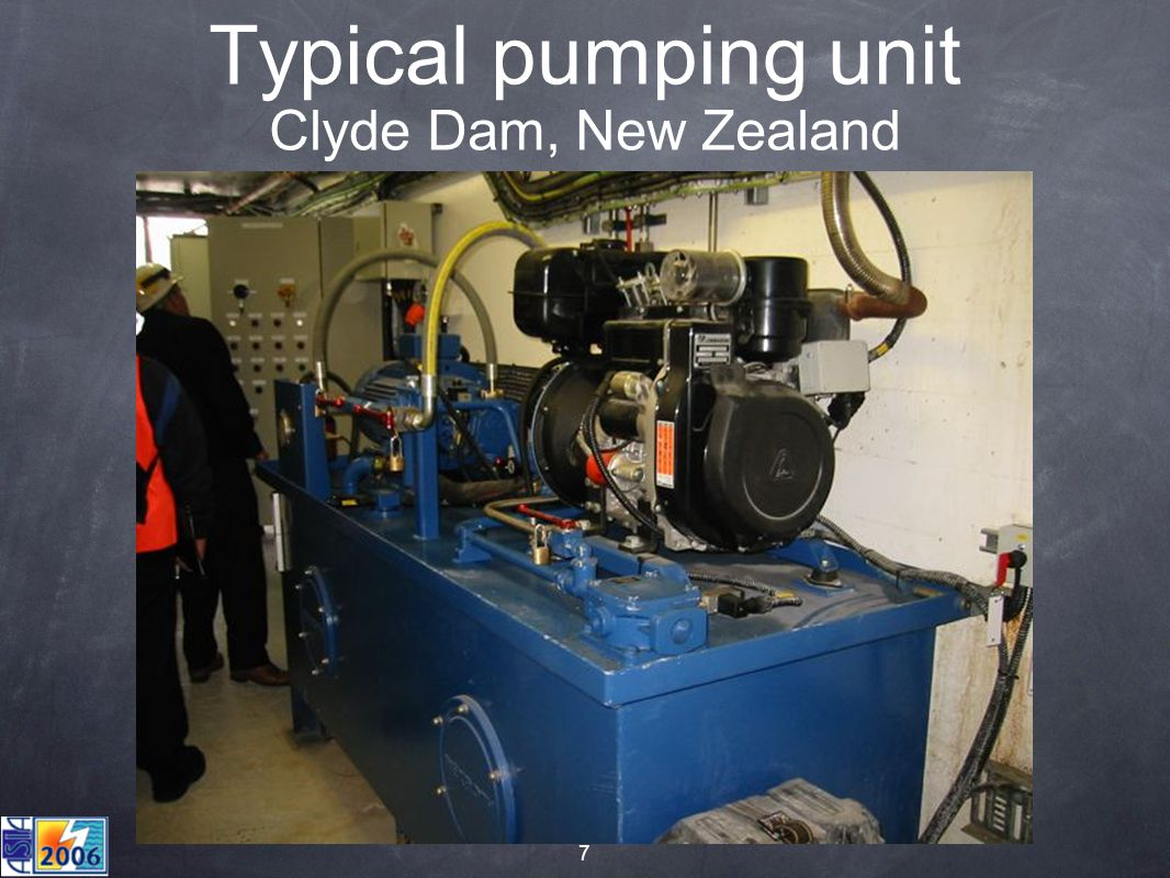 7 Typical pumping unit Clyde Dam, New Zealand