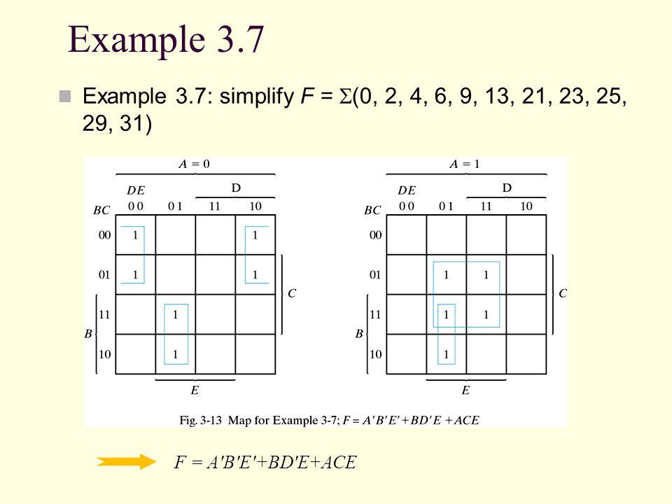 Example 3.7 Example 3.7: simplify F = (0, 2, 4, 6, 9, 13, 21, 23, 25, 29, 31) F = A'B'E'+BD'E+ACE