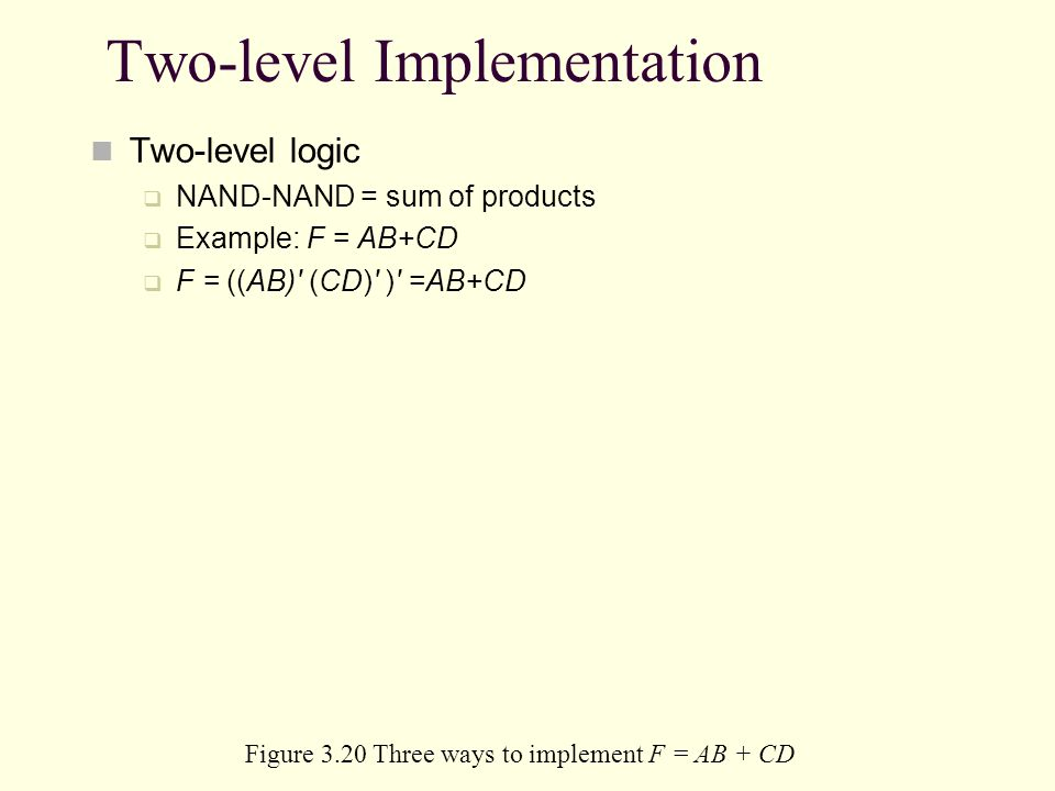 Two-level Implementation Two-level logic NAND-NAND = sum of products Example: F = AB+CD F = ((AB)' (CD)' )' =AB+CD Figure 3.20 Three ways to implement