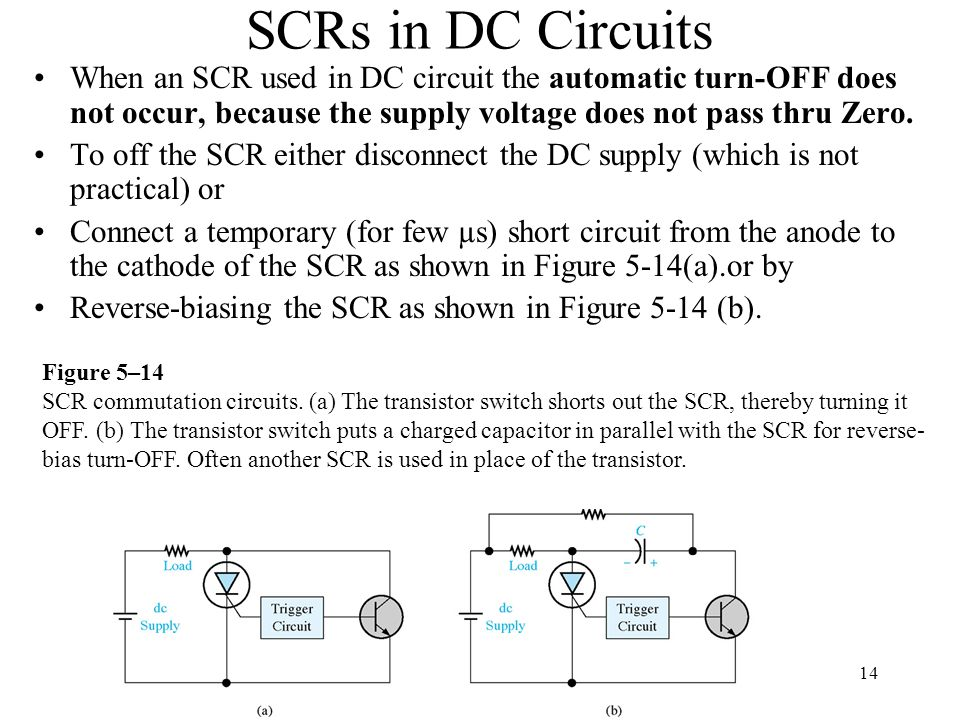 SCRs in DC Circuits When an SCR used in DC circuit the automatic turn-OFF does not occur, because the supply voltage does not pass thru Zero. To off t