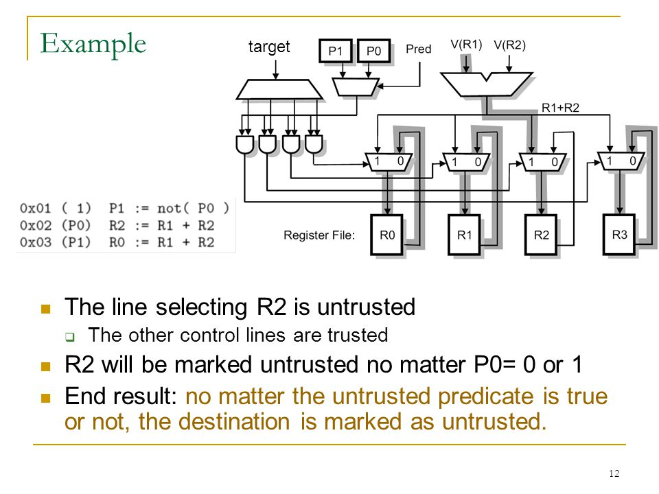 12 Example The line selecting R2 is untrusted The other control lines are trusted R2 will be marked untrusted no matter P0= 0 or 1 End result: no matt