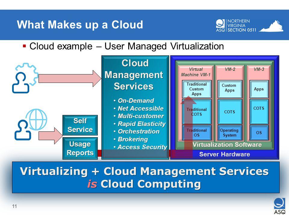 11 Self-Service UsageReports Server Hardware Virtualization Software Virtualization Software VM-2 Operating System COTS Custom Apps VM-3 OS COTS Apps