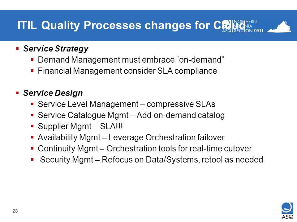 28 ITIL Quality Processes changes for Cloud Service Strategy Demand Management must embrace on-demand Financial Management consider SLA compliance Ser