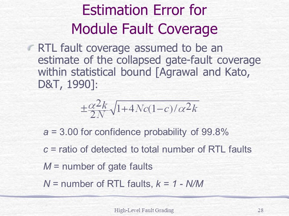 High-Level Fault Grading28 Estimation Error for Module Fault Coverage RTL fault coverage assumed to be an estimate of the collapsed gate-fault coverag