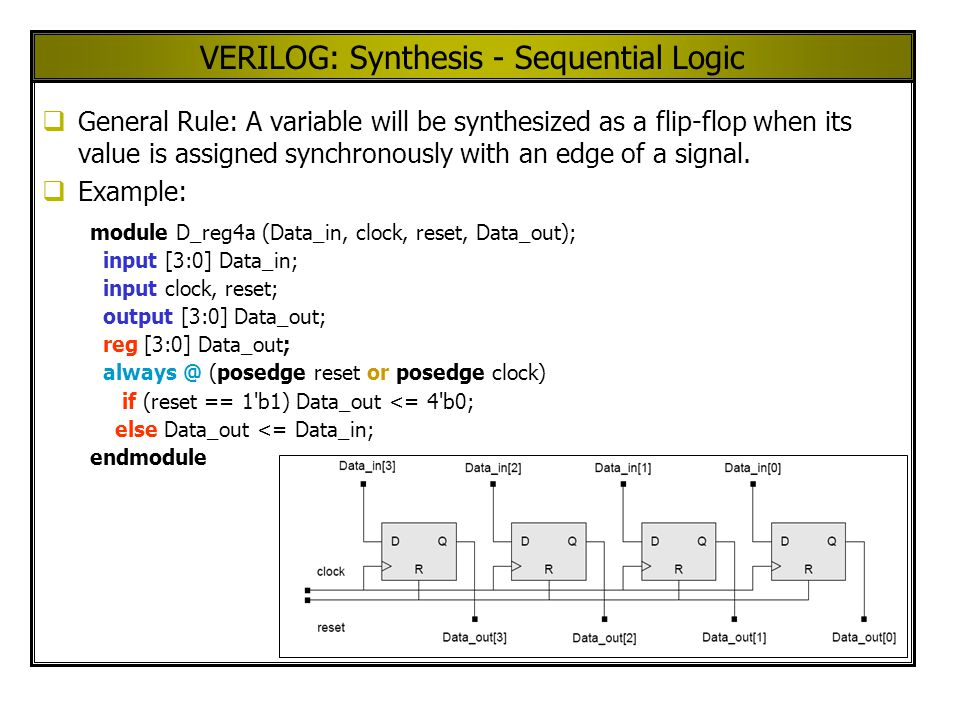 VERILOG: Synthesis - Sequential Logic General Rule: A variable will be synthesized as a flip-flop when its value is assigned synchronously with an edge of a signal.