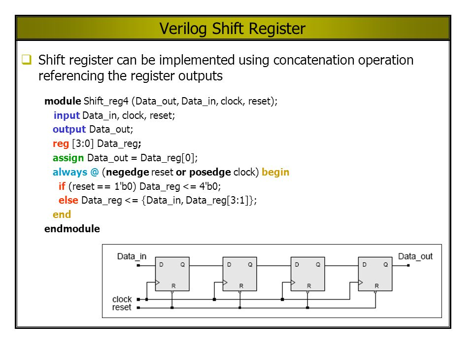 Verilog Shift Register Shift register can be implemented using concatenation operation referencing the register outputs module Shift_reg4 (Data_out, Data_in, clock, reset); input Data_in, clock, reset; output Data_out; reg [3:0] Data_reg; assign Data_out = Data_reg[0]; always @ (negedge reset or posedge clock) begin if (reset == 1 b0) Data_reg <= 4 b0; else Data_reg <= {Data_in, Data_reg[3:1]}; end endmodule