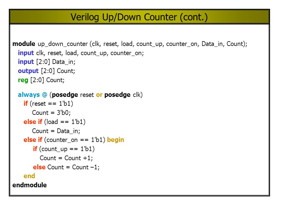 Verilog Up/Down Counter (cont.) module up_down_counter (clk, reset, load, count_up, counter_on, Data_in, Count); input clk, reset, load, count_up, counter_on; input [2:0] Data_in; output [2:0] Count; reg [2:0] Count; always @ (posedge reset or posedge clk) if (reset == 1 b1) Count = 3 b0; else if (load == 1 b1) Count = Data_in; else if (counter_on == 1 b1) begin if (count_up == 1 b1) Count = Count +1; else Count = Count –1; end endmodule