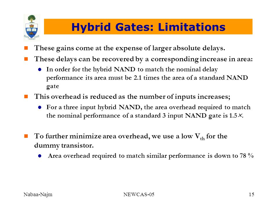 Nabaa-NajmNEWCAS-0515 Hybrid Gates: Limitations n These gains come at the expense of larger absolute delays. n These delays can be recovered by a corr