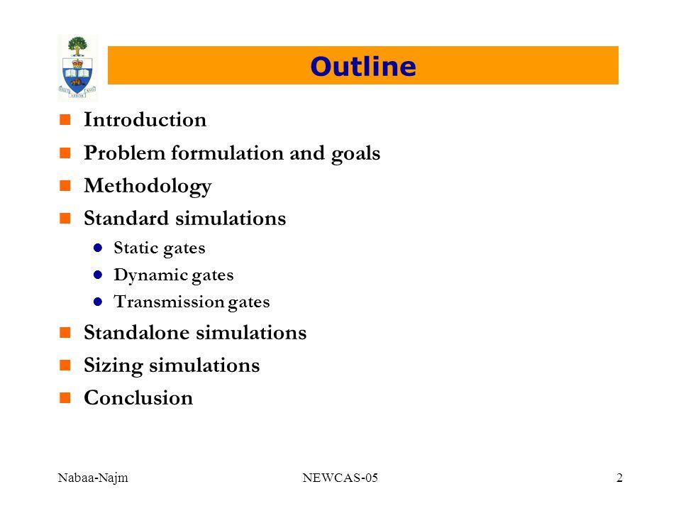 Nabaa-NajmNEWCAS-052 Outline n Introduction n Problem formulation and goals n Methodology n Standard simulations l Static gates l Dynamic gates l Tran
