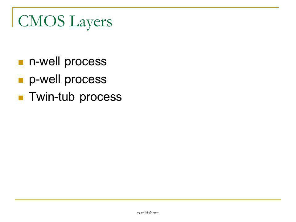 ravikishore CMOS Layers n-well process p-well process Twin-tub process
