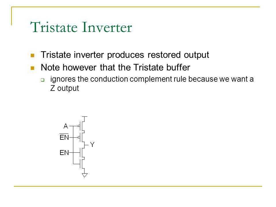 Tristate Inverter Tristate inverter produces restored output Note however that the Tristate buffer ignores the conduction complement rule because we w