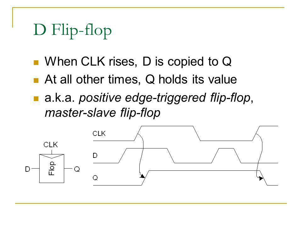 D Flip-flop When CLK rises, D is copied to Q At all other times, Q holds its value a.k.a. positive edge-triggered flip-flop, master-slave flip-flop
