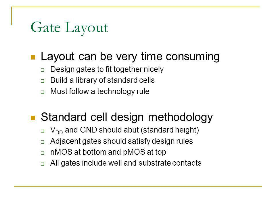 Gate Layout Layout can be very time consuming Design gates to fit together nicely Build a library of standard cells Must follow a technology rule Stan