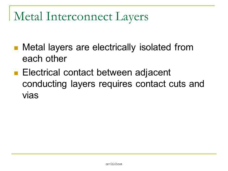ravikishore Metal Interconnect Layers Metal layers are electrically isolated from each other Electrical contact between adjacent conducting layers req