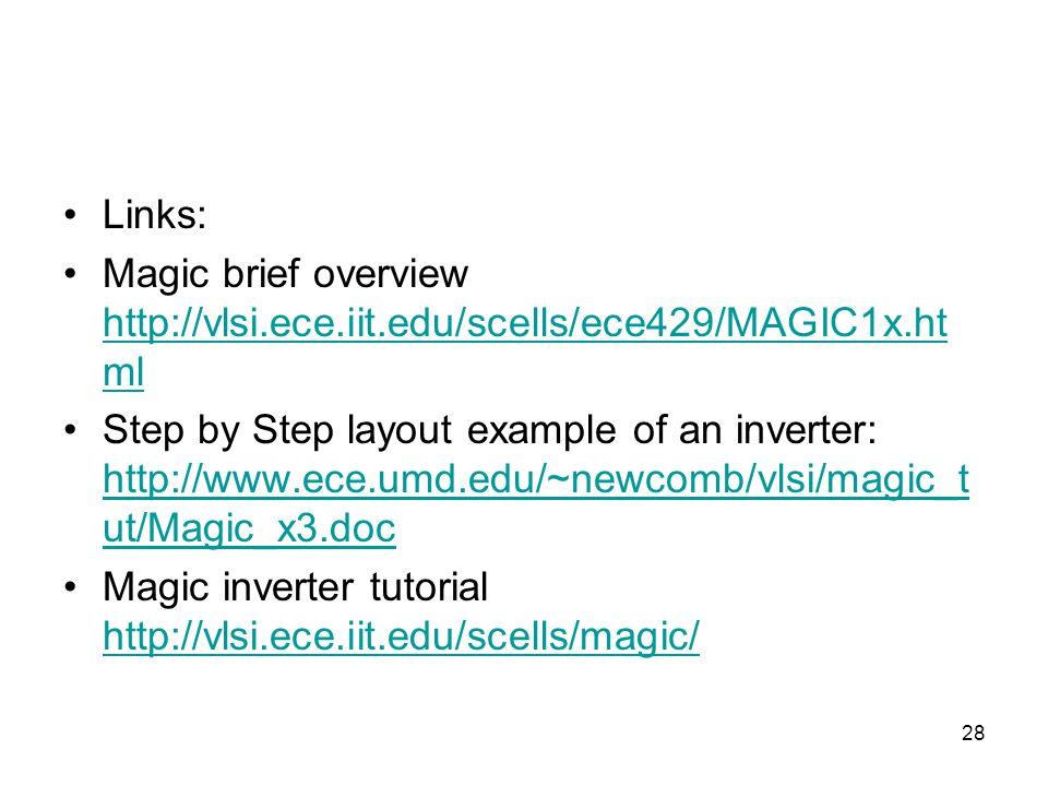 28 Links: Magic brief overview http://vlsi.ece.iit.edu/scells/ece429/MAGIC1x.ht ml http://vlsi.ece.iit.edu/scells/ece429/MAGIC1x.ht ml Step by Step layout example of an inverter: http://www.ece.umd.edu/~newcomb/vlsi/magic_t ut/Magic_x3.doc http://www.ece.umd.edu/~newcomb/vlsi/magic_t ut/Magic_x3.doc Magic inverter tutorial http://vlsi.ece.iit.edu/scells/magic/ http://vlsi.ece.iit.edu/scells/magic/