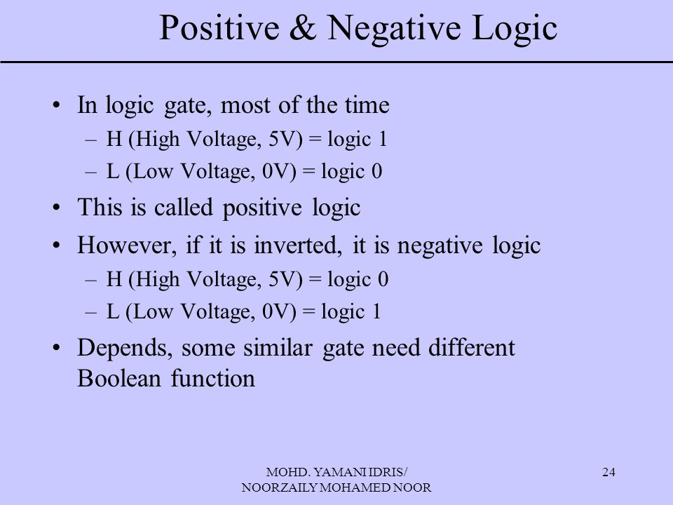 MOHD. YAMANI IDRIS/ NOORZAILY MOHAMED NOOR 24 Positive & Negative Logic In logic gate, most of the time –H (High Voltage, 5V) = logic 1 –L (Low Voltag