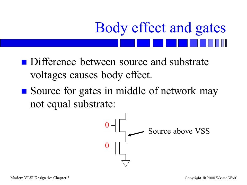 Modern VLSI Design 4e: Chapter 3 Copyright 2008 Wayne Wolf Body effect and gates n Difference between source and substrate voltages causes body effect