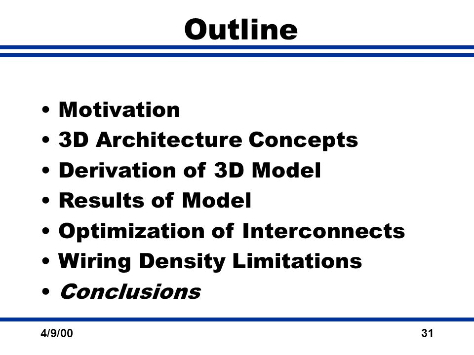 4/9/0031 Outline Motivation 3D Architecture Concepts Derivation of 3D Model Results of Model Optimization of Interconnects Wiring Density Limitations Conclusions