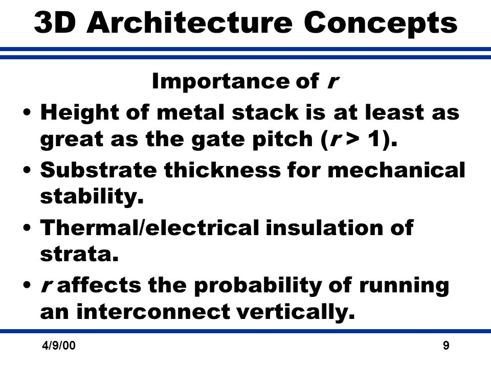 4/9/009 3D Architecture Concepts Importance of r Height of metal stack is at least as great as the gate pitch (r > 1).
