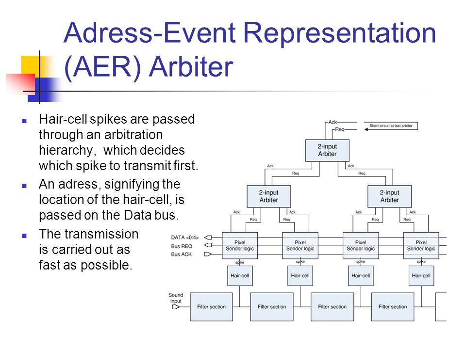Adress-Event Representation (AER) Arbiter Hair-cell spikes are passed through an arbitration hierarchy, which decides which spike to transmit first.
