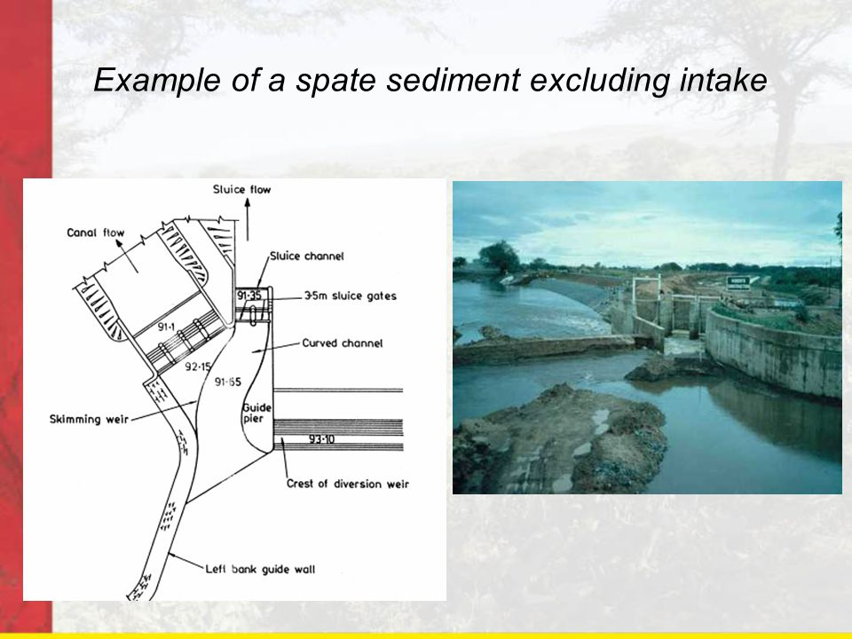 Features of the spate intake No divide wall, flows can approach from any direction including parallel to the weir Intake aligned to minimise the diversion angle Curved channel with floor set lower than the intake gate sill encourages coarser sediments to move through the sluiceway In this case a fuse plug was used