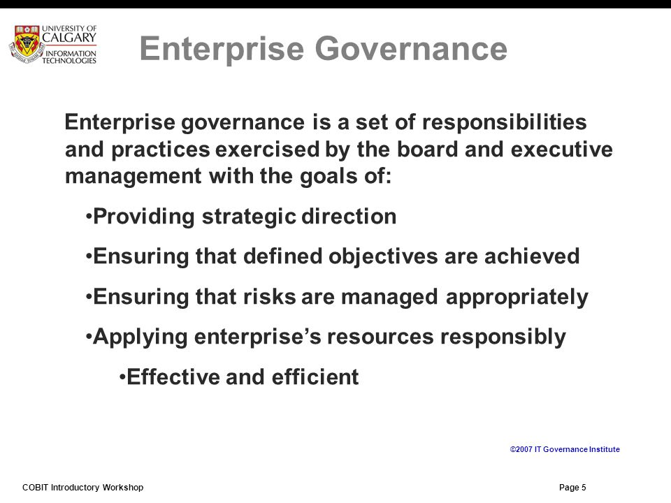 Page 5 Enterprise governance is a set of responsibilities and practices exercised by the board and executive management with the goals of: Providing s