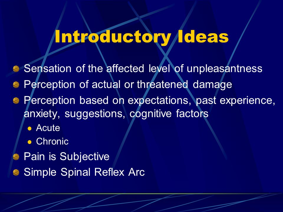 Introductory Ideas Sensation of the affected level of unpleasantness Perception of actual or threatened damage Perception based on expectations, past experience, anxiety, suggestions, cognitive factors Acute Chronic Pain is Subjective Simple Spinal Reflex Arc