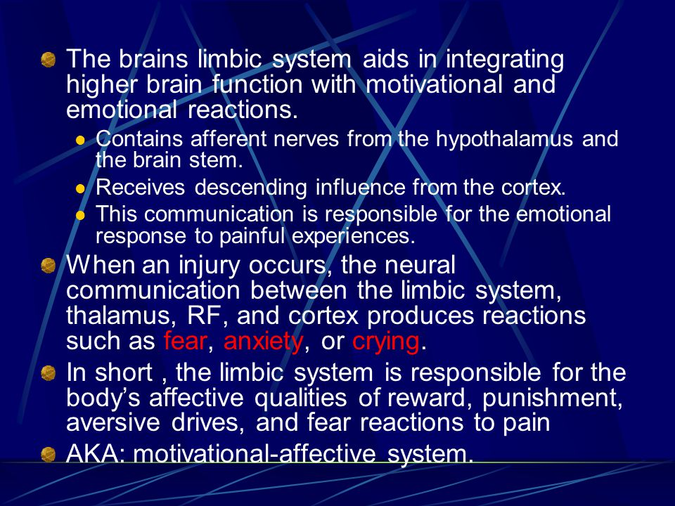 The brains limbic system aids in integrating higher brain function with motivational and emotional reactions.