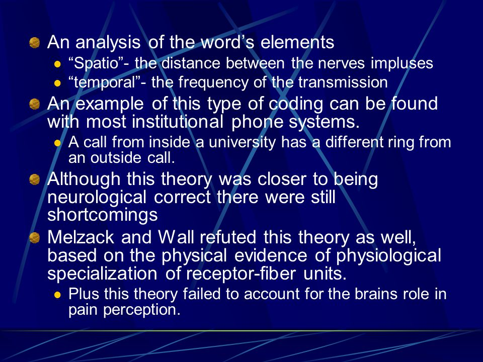 An analysis of the words elements Spatio- the distance between the nerves impluses temporal- the frequency of the transmission An example of this type of coding can be found with most institutional phone systems.