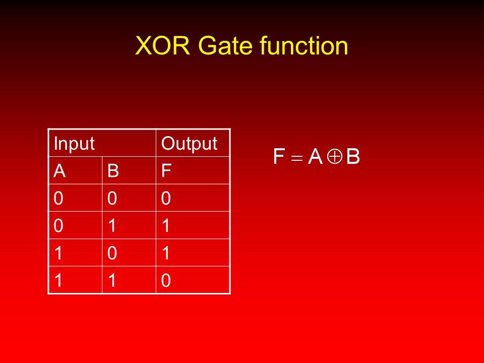 XOR Gate function InputOutput ABF 000 011 101 110