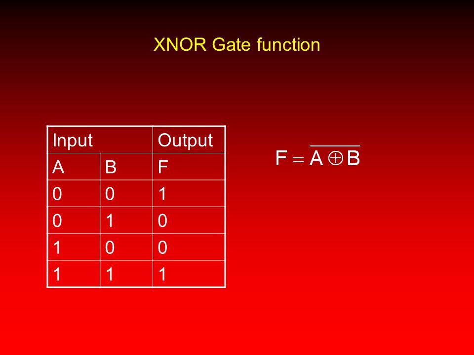 XNOR Gate function InputOutput ABF 001 010 100 111