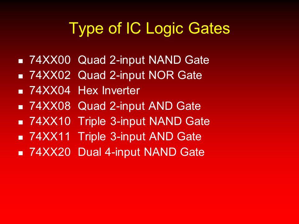 Type of IC Logic Gates 74XX00Quad 2-input NAND Gate 74XX02Quad 2-input NOR Gate 74XX04Hex Inverter 74XX08Quad 2-input AND Gate 74XX10Triple 3-input NA