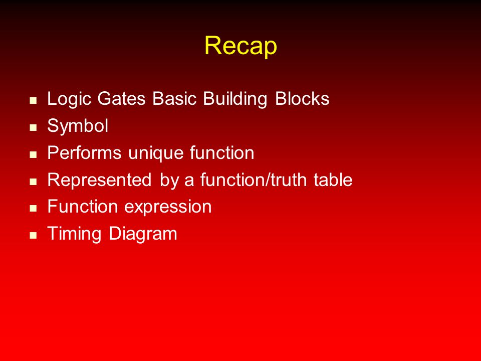 Recap Logic Gates Basic Building Blocks Symbol Performs unique function Represented by a function/truth table Function expression Timing Diagram