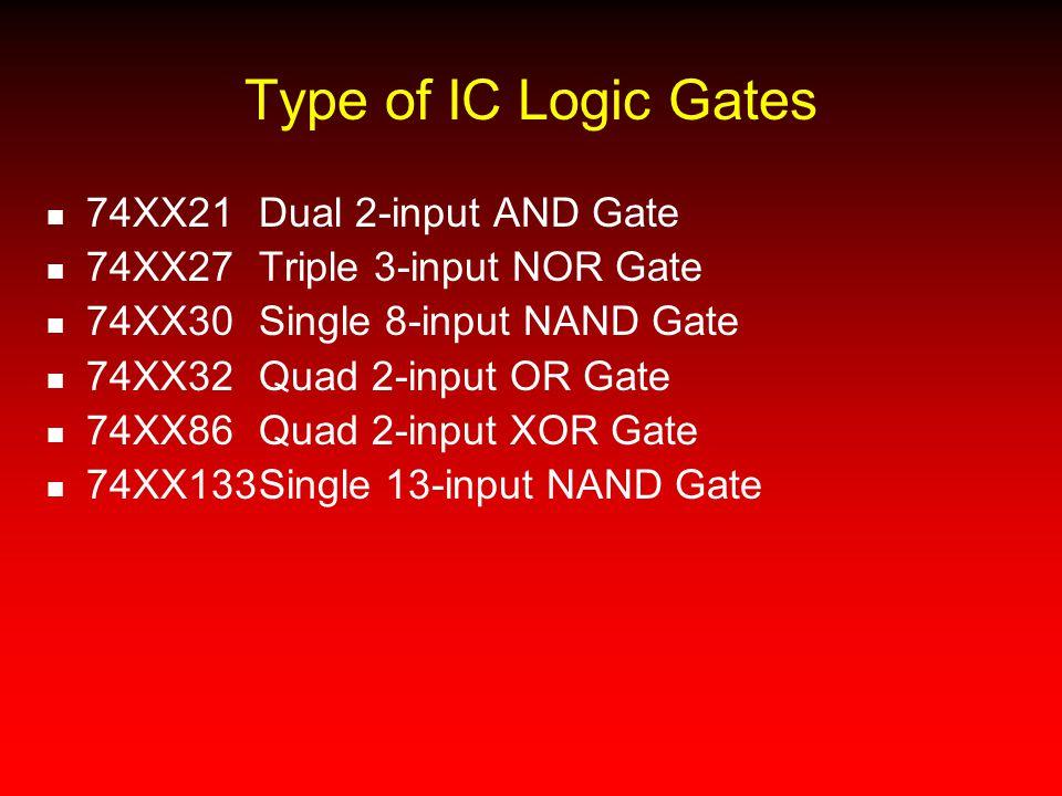 Type of IC Logic Gates 74XX21Dual 2-input AND Gate 74XX27Triple 3-input NOR Gate 74XX30Single 8-input NAND Gate 74XX32Quad 2-input OR Gate 74XX86Quad
