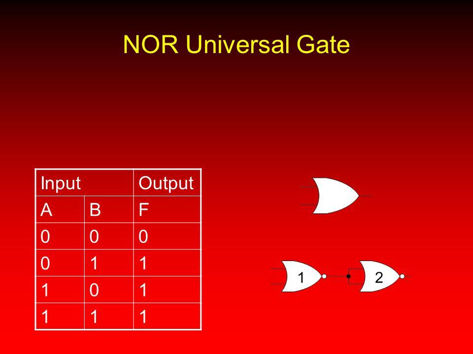 NOR Universal Gate InputOutput ABF 000 011 101 111