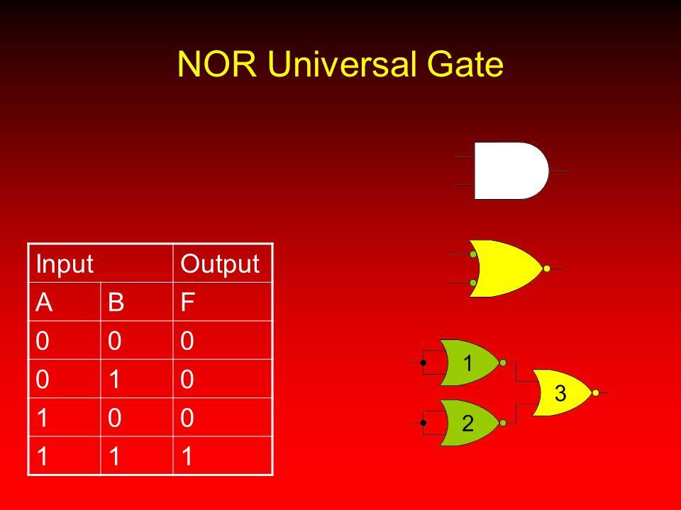 NOR Universal Gate InputOutput ABF 000 010 100 111